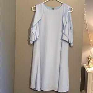 open shoulder blue dress